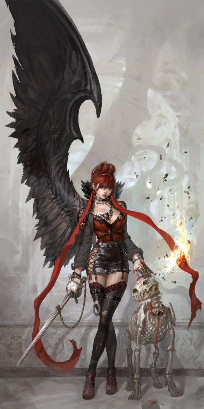 640x1281_18467_Evil_and_dog_2d_illustration_fantasy_girl_woman_demon_picture_image_digital_art